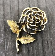 Authentic Vintage Sarah Coventry Gold Tone Rose Flower With Stem Leaves Brooch