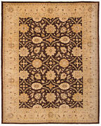 Vintage Hand-knotted Carpet 10and0390 X 12and0397 Traditional Dark Brown Wool Area Rug