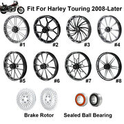 26and039and039 Front Wheel Rim Hub W/ Dual Flange Brake Rotor Fit For Harley Touring 08-21