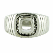 Semi Mount 6mm Cushion Shape Faceted Ring 18k White Gold Jewelry