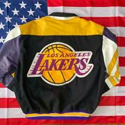 Super Rare 90s Jh Jeff Hamilton Made In Usa Lakers Leather Jacket