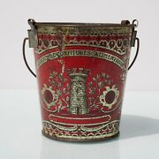 Antique French Tin Bucket For Jam With Castle Tower.