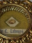 Anddagger Special Antique Catherine Laboure Relic Sealed Theca Gold Holder And Xl Rosary Anddagger