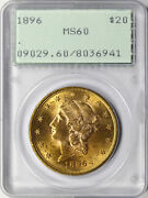 1896 20 Liberty Head Gold Double Eagle Pcgs Ms60 Ogh Rattler