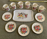 Vintage Mickey Mouse Club Childs Kids Plastic Tea Set 6 Cups 5 Saucers1 Tray