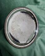 Vintage Wm Rogers Silver Plated Ornate Floral Serving Plate Tray Post 1940