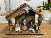 Christmas Nativity Wooden Manger And Creche Stable With Baby Jesus And All