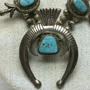 Vintage Sterling Turquoise Western Squash Blossom Necklace