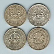 Australia. 1937 Crown X 4 Coins.. Ef-aunc - All With Much Lustre