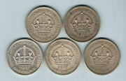 Australia. 1937 Crown X 5 Coins.. Gvf-ef+ - All With Some Lustre