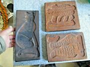 3 Old Wooden Cookie / Butter Mold