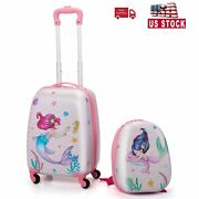 2 Pcs Kids Luggage Set 12 Lightweight Backpack And 16 Rolling Suitcase W/wheel