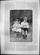 Old Antique Print Pair Nutcrackers Boy Girl Procession Approaching 1891 19th