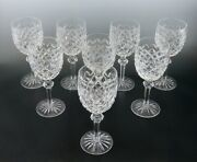 Lovely Set 8 Waterford Crystal Powerscourt Wine Glasses Water Goblets 7 5/8