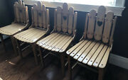 All 4 Mid-century Antique Solid Maple Wood Slat Dining Side Chair,❤️ Cutout