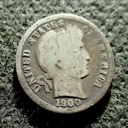 Old Silver Us 10 Cents 1900 Coin Barber Dime Philadelphia Mint Ag