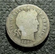 Old Silver Us 10 Cents 1898 Coin Barber Dime Philadelphia Mint Ag