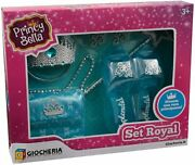 F-princy Beautiful Set Royal With Crown Shoes Earrings Wand And Bag Pink And