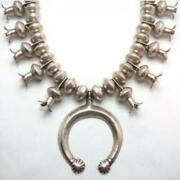 Vintage Heavy Squash Blossom Naja Necklace C.1960 F/s From Japan