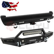 Front + Rear Bumper W/ Winch Plate Led Light Bar For 1984-2001 Jeep Cherokee