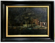 Oil On Panel Dutch Canal In Amsterdam Barges Antique Painting Framed