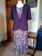 Jacques Vert Size 16 18 3 Piece Wedding Outfit Mother Of The Bride Purple And Cre