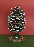 Pinecone Christmas Tree For Gnomes 🎄artisan Made W/vintage Glass Ornaments.