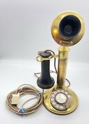 Antique Western Electric Co. 329w Brass Candlestick Telephone Mic And Earpiece
