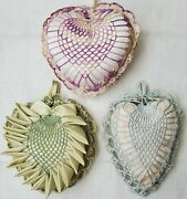 Lot Of 3 Vintage Handmade Crocheted Doily And Ribbon Heart Pillow Pin Cushions
