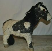 Antique/vintage Pinto Pony Piggy Bank Wooden 17 Tall Black And White Vintage Age