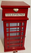 Vintage Wooden Red British Telephone Booth Heavy Duty Curio Cabinet