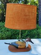 Vtg Wooden Hand Painted Mallard Duck Decoy Table Lamp Cool Shade Hunting Lodge