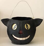 Vintage Poliwoggs Halloween X-large Black Catandrsquos Head Bucket Artist Signed Dated