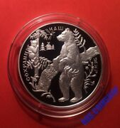 25 Roubles 1997 Russia Protect Our World Brown Bear Silver Proof