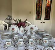 Lynns -fine China Dinnerware Set-victorian Rose - 8 Place Setting - - 45 Pieces