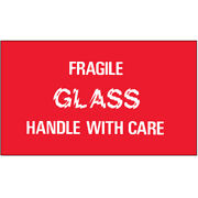 3 X 5 Fragile Glass - Handle With Care Labels Red/white 5000 Pcs