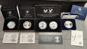 2021 W Silver Eagle 5 Coin Set With Coas- All Coins Sold Out At Mint