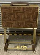 Faux Parquet Wood Tv Trays, Rolling Stand, Mcm, Vintage Set Of 4