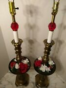 Tall Pair Of Brass Vintage Lamps Red And White Flowers Glass Finials