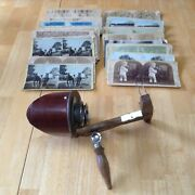 Antique Stereo Graphoscope Viewer +25 Pics Cards Pat. 7- 24 1883