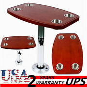 Varnished Oak Table Top W/ 4 Cup Holders Adjustable Heights Rv Marine 600380mm