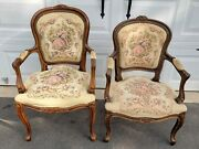 Vintage French Louis Xv Style Floral Tapestry Chairs Chateau D'ax Italy Set Of 2