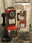 New Crosley 1950's Old Style Red Wall Mount Pay Phone Telephone Works Great ☎️☎️