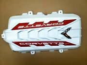 2020-22 C8 Corvette Engine Cover- Arctic White- Torch Red Emblems- Flag Detailed