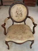 Antique Walnut Victorian Louis Xv Style Tapestry Parlor Arm Chair