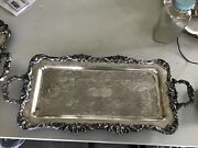 """Leonard Silverplate On Copper Footed Serving Tray Handles 25.5x11.5""""shell Design"""