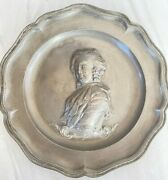 2 Antique 18th C. French Pewter Plates King Louis Xvi And Queen Marie Antoinette