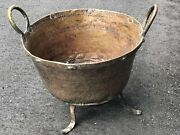Antique Hand Forged Copper Cauldron Large Apple Butter Pot On Stand