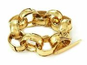 Fashion Gold Plated Metal Large Hammered Oval Links Toggle Clasp Bracelet