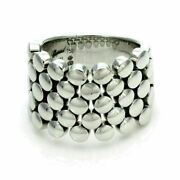 Chopard 18k White Gold Flexible Bead Design Wide Band Ring Size 6.5 W/cert.